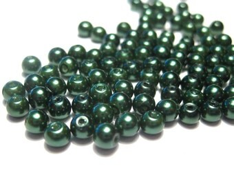 1 strand Green Glass Pearl Beads 4mm Round