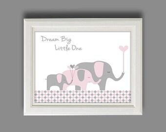 Elephant Nursery Art - Elephant Nursery Decor - Pink And Gray Nursery Wall Art - Balloons - Chevron Nursery Art