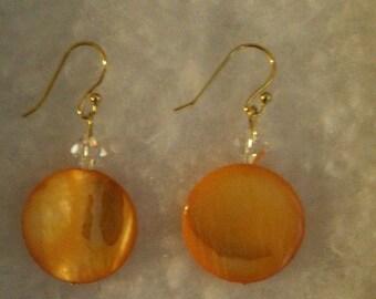 Orange Glass Earrings with Swarovski Elements