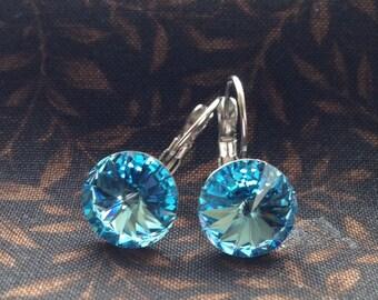 Handmade Swarovski Latchback Earrings, Blue 12 mm Rivoli Swarovski Crystal, Drop Earrings, Crystal Earrings, Bridal Earrings, Free Shipping