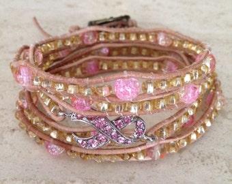 "Online Jewelry Designer Inspired Handmade Breast Cancer 5x Wrap Bracelet Leather Beaded Wrap Bracelet Pink & Gold Bronze Clasp 35"" Bohemian"