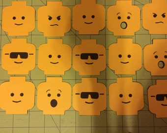Lego head cupcake toppers