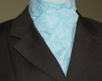 Equestrian stock tie - beautiful light blue with white pattern - unique for your next equestrian event!