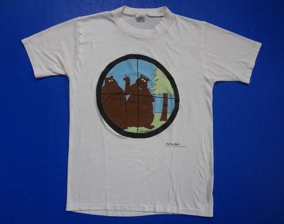The Far Side Rifle Scope Bears T Shirt Soft Vintage 1980s M