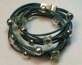 Handmade women's green leather wrap bracelet, beaded wrap bracelet, green leather bracelet