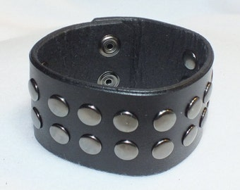 Black Leather Cuff, Leather Wristband, Studded Cuff, Studded Wristband
