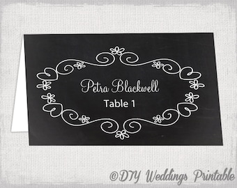 "Wedding place card template ""Chalkboard"" place cards -DIY wedding printable name cards -YOU EDIT instant download Word / Jpg"