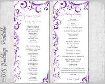 A4 Wedding order of service template Begonia Pink