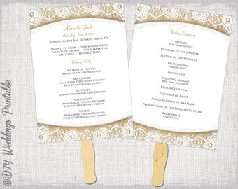 church fans template - wedding program fan etsy
