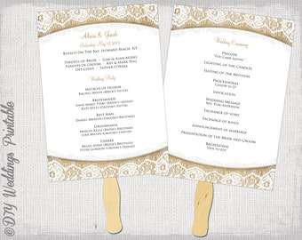 Wedding program fan etsy for Church fans template