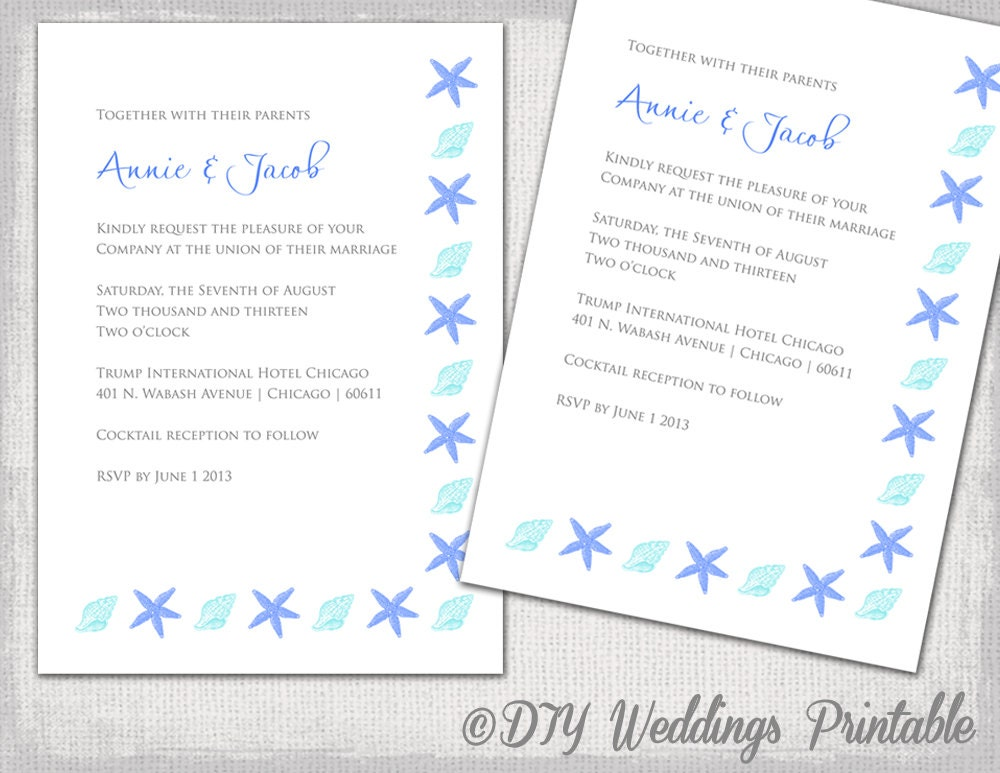Printable Wedding Invitation Templates: Printable Beach Wedding Invitations Template DIY