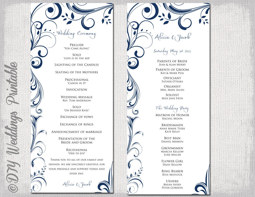 Wedding Program Template Navy Blue Instant Download