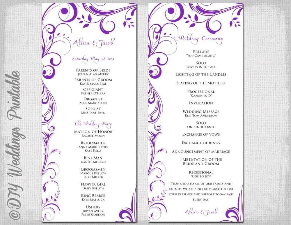 wedding program template instant download purple. Black Bedroom Furniture Sets. Home Design Ideas