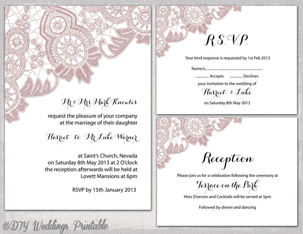 Lace Wedding Invitation Template: Lace Wedding Invitation Suite Templates Dusky Pink