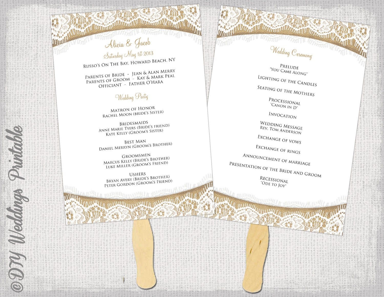 Wedding program fan template rustic burlap lace for Church fans template