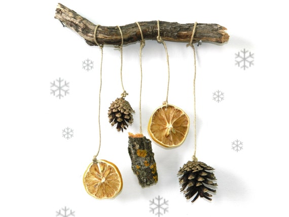 Pine Cone decorationForest driftwood mobile by ...