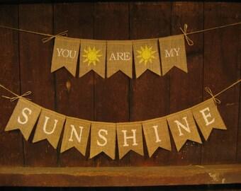 You are my sunshine Banner, You are my sunshine Garland, Burlap Banner, Baby Shower Decor, Nursery Decor, Photo Prop, New Baby Boy Girl