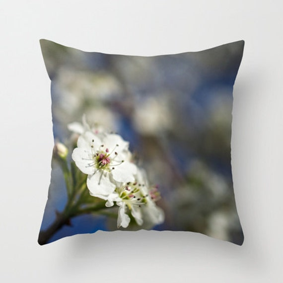Nature Photo Pillow, Blue and White, White Flower, Midwest Photo, Blue Decor, Nature Home Decor, Pear Tree Flower, Blue Sky, Photo Pillow