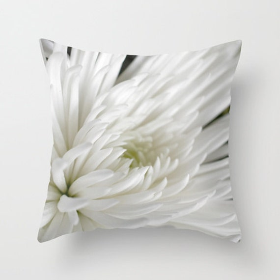 White Photo Pillow, Spider Mum, Flower Pillow Cover, Macro Photography, Interior Design, Neutral Colors, Nursery, Bedroom, Indoor Outdoor