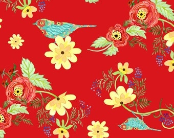 Ranunculus - Bird Floral - In The Beginning Fabric (2AJA) (Fabric Yardage) 2 color variations