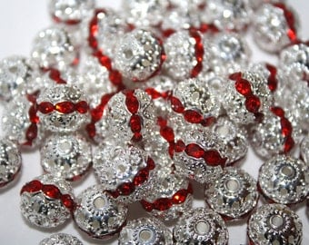 Bead Spacer Silver Tone With Red Rhinestone - 10mm - 10ct - #160
