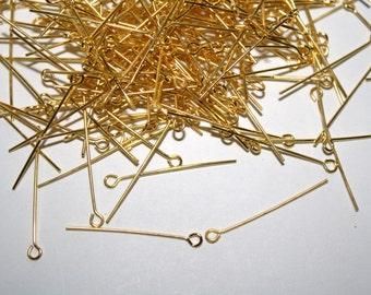 Gold Eye Pins - 30mm - 100 pcs - 21 Gauge - #052