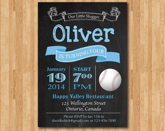 Baseball birthday invitation chalkboard. Baby boy birthday party invite any age. bday party invites. Printable digital DIY.