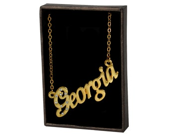 Name Necklace Georgia - Gold Plated 18ct Personalised Necklace with Czech Crystals