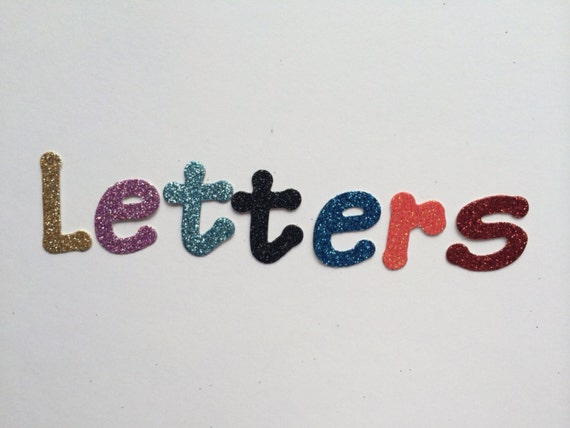 10 glitter cardboard letters with an option for adhesive for Glitter cardboard letters