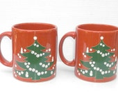 Pair of Waechtersbach Christmas Tree Coffee Mugs