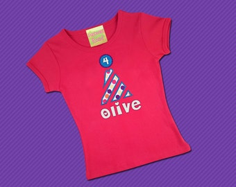 Girl's Birthday Shirt with Party Hat, Number and Embroidered Name