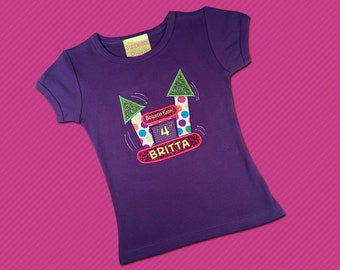 Girl's Birthday Shirt with Bounce House, Number and Embroidered Name