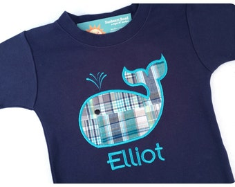 Boy's Whale Shirt Blue Plaid with Embroidered Name - M25