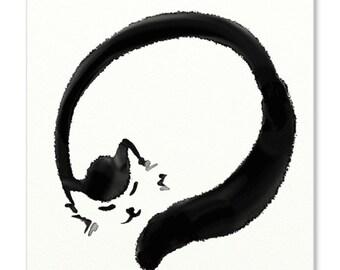 "Cat in Zen Print illustration - 5x7"" - Digital art"