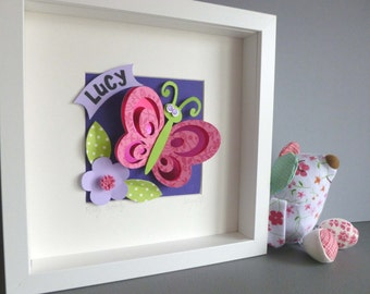 Personalised Baby Kids Children's picture - Butterfly 3D Framed Handmade Paper Artwork