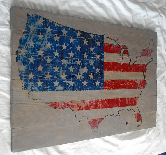 items similar to distressed american flag usa map wall art. Black Bedroom Furniture Sets. Home Design Ideas