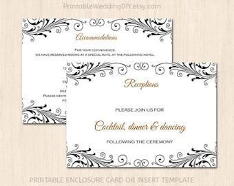 popular items for wedding insert card on etsy. Black Bedroom Furniture Sets. Home Design Ideas