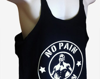 New Arnie No Pain No Gain BodyBuilding Mens / Stringer / Singlet / Vest / Racerback