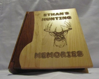 "Engraved Wood Personalized Photo Album ""Hunting Memories"" - Large"