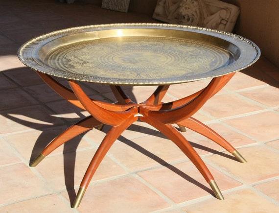 Vintage Coffee Tea Table Brass Moroccan Persian Spider Legs