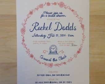 Personalized hand drawn invitations (30 pack)