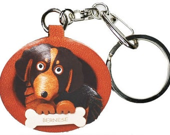 Bernese Mountain Dog 3D Leather Dog Plate Keychain Purse Charm Accessory *VANCA* Made in Japan #26522 Free Shipping