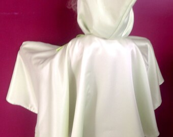 Children's Hood Cape / Mint Green with silver glitter / child's cape with hood