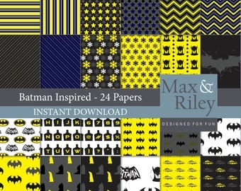 24 Batman Inspired Digital Paper pack INSTANT DOWNLOAD - for scrapbooking, card making, digital scrapbooking, dots, stripes, chevron paper