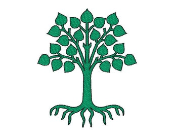 Machine Embroidery Design,  tree eco, five sizes,  2.5, 3, 4, 5, 6 inches
