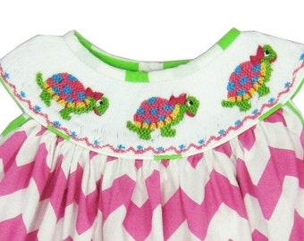 Hand Smocked Pink Chevron Turtle Dress