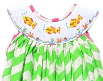 Hand Smocked Green Chevron Fish Dress