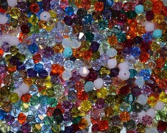 50 - 3mm Genuine Swarovski Crystal Bicone Beads - Assorted