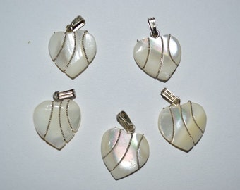 Vintage Mother of Pearl Heart with Twisted Silver Wire wrapping.