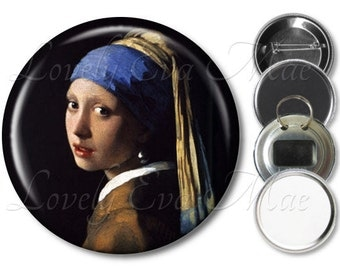 Johannes Vermeer's Girl with a Pearl Earring, Pocket Mirror, Refrigerator Magnet, Bottle Opener Key Ring, Pin Back Button Badge, Keychain